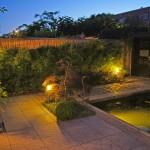 Tuin in avondlicht met vijver